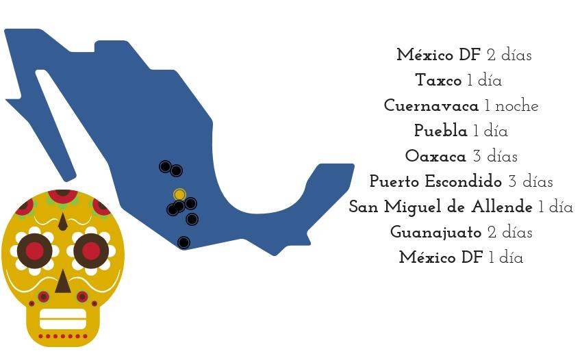 _ México DF 2 joursTaxco 1 jour (nuit à Cuernavaca)Puebla 1 jourOaxaca 3 joursPuerto Escondido 3 joursSan Miguel de Allende 1 jourGuanajuato 2 joursMéxico DF 1 jou